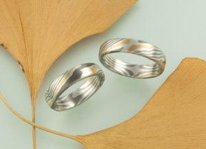 Mokume Gane Ringe mit zwei Sterne innen Gelbgold Palladium Schneesilber