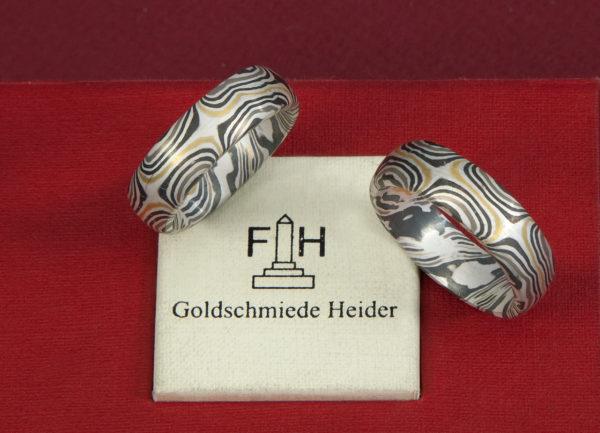 Mokume Gane Ringe gestülptmit 6 Sternen außenmit Gelbgold,Graugold,Palladium und Schneesilber